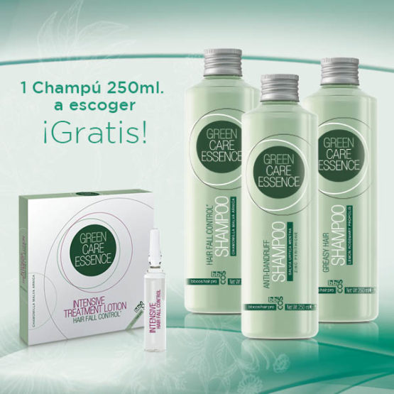 promo green care essence ampollas + champú